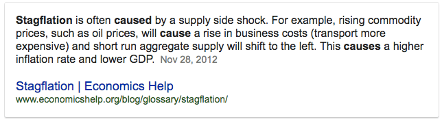 Stagflation is often caused by a supply side shock. For example, rising commodity prices, such as oil prices, will cause a rise in business costs (transport more expensive) and short run aggregate supply will shift to the left. This causes a higher inflation rate and lower GDP. NOV 28, 2012 Stagflation I Economics Help www.economicshelp.org/blog/glossary/stagnation/