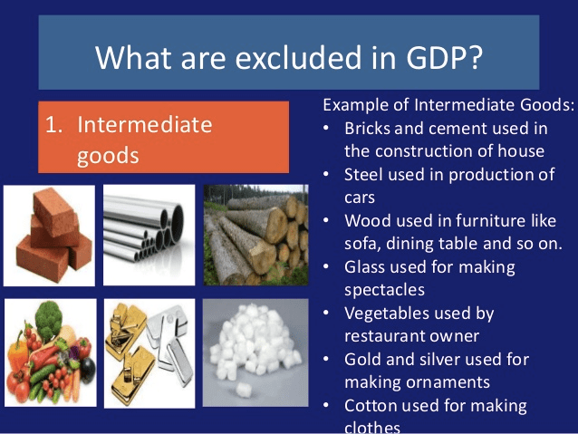 What are excluded in GDP? Example of Intermediate Goods: .   Intermediate Bricks and cement used in the construction of house Steel   used in production of cars Wood used in furniture like sofa, dining   table and so on. Glass used for making spectacles Vegetables used by   restaurant owner Gold and silver used for making ornaments Cotton used   for making