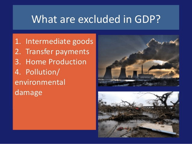 What are excluded in GDP? . Intermediate good . Transfer payments .   Home Production . Pollution/ nvironmental amage