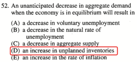 52. An unanticipated decrease in aggregate demand when the economy   is in equilibrium will result in (A) a decrease in voluntary   unemployrnent (B) a decrease in the natural rate of unemployment a   decrease in a ate su I (D) an increase in unplanned inventories an   Increase In rate 01 anon